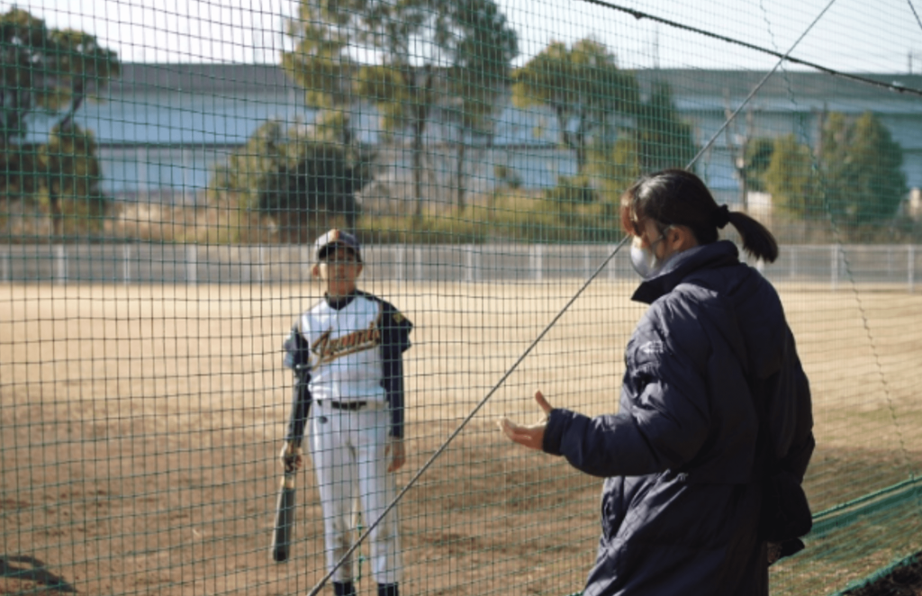 娘さんの所属する野球チームの練習試合にて